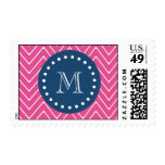 Navy Blue, Hot Pink Chevron Pattern, Your Monogram Postage