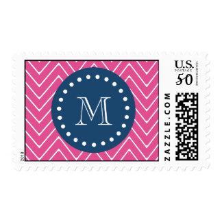 Navy Blue, Hot Pink Chevron Pattern, Your Monogram Postage
