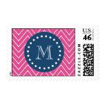 Navy Blue, Hot Pink Chevron Pattern, Your Monogram Postage Stamp