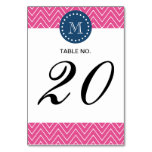 Navy Blue, Hot Pink Chevron Pattern, Your Monogram Table Card