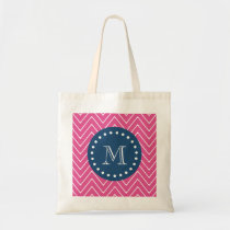 Navy Blue, Hot Pink Chevron Pattern, Your Monogram Tote Bag