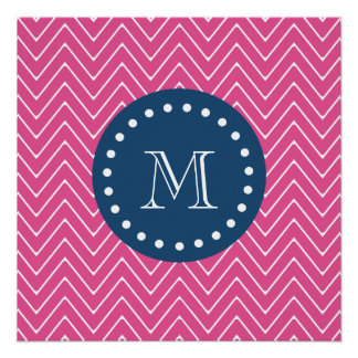 Navy Blue, Hot Pink Chevron Pattern, Your Monogram Perfect Poster