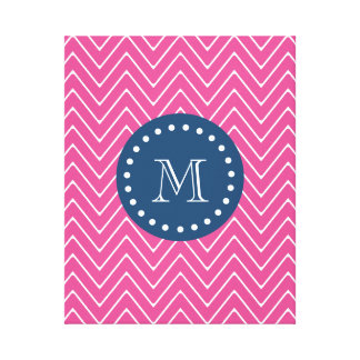 Navy Blue, Hot Pink Chevron | Your Monogram Canvas Print