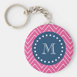 Navy Blue, Hot Pink Chevron | Your Monogram Keychain