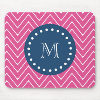 Navy Blue, Hot Pink Chevron | Your Monogram Mouse Pad