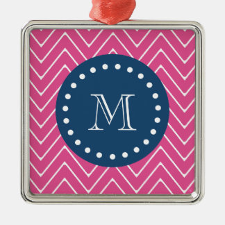 Navy Blue, Hot Pink Chevron | Your Monogram Christmas Tree Ornament