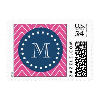 Navy Blue, Hot Pink Chevron | Your Monogram Postage