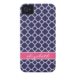 Navy Blue & Hot Pink Quatrefoil Custom Monogram iPhone 4 Case-Mate Case