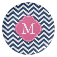 Navy Blue & Hot Pink Zigzag Pattern Monogram Melamine Plate