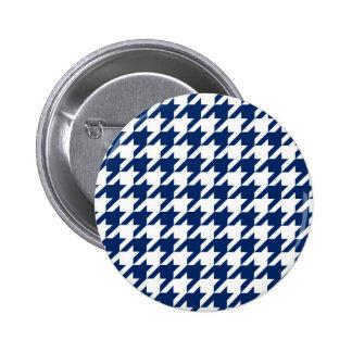 Navy Blue Houndstooth 2 Inch Round Button