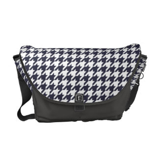 Navy Blue Houndstooth Courier Bag