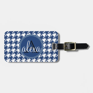 Navy Blue Houndstooth Monogram Luggage Tag