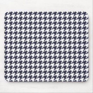 Navy Blue Houndstooth Mouse Pad