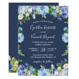 Navy Blue Hydrangeas Fl Wedding Card