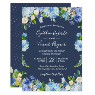 Navy Blue Hydrangeas Floral Romantic Wedding Invitation