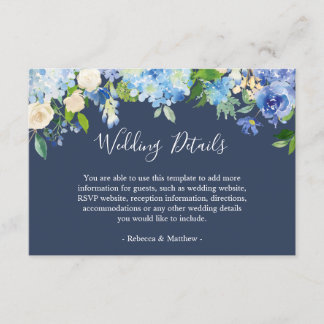 Navy Blue Hydrangeas Floral Wedding Info Details Enclosure Card