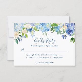 Navy Blue Hydrangeas Floral Wedding RSVP Reply