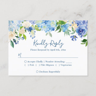 Navy Blue Hydrangeas Floral Wedding RSVP Reply
