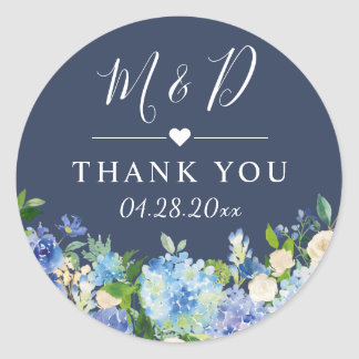 Navy Blue Hydrangeas Floral Wedding Thank You Classic Round Sticker