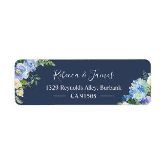 Navy Blue Hydrangeas Watercolor Bloom Floral Label