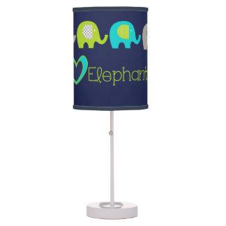 Navy Blue I Love Elephants Table Lamp