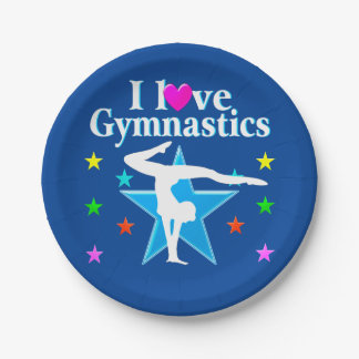 NAVY BLUE I LOVE GYMNASTICS PAPER PLATES