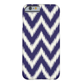 Navy Blue Ikat Chevron Barely There iPhone 6 Case