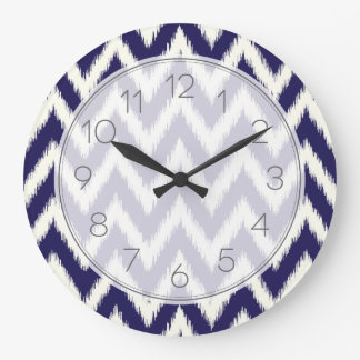 Navy Blue Ikat Chevron Wallclock