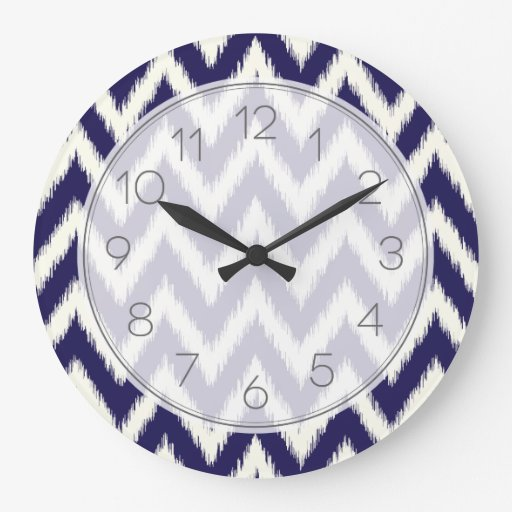 Navy Blue Ikat Chevron Clock