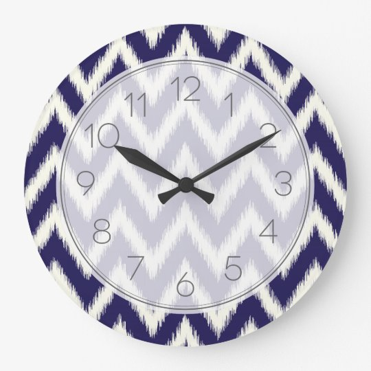 Navy Blue Ikat Chevron Large Clock