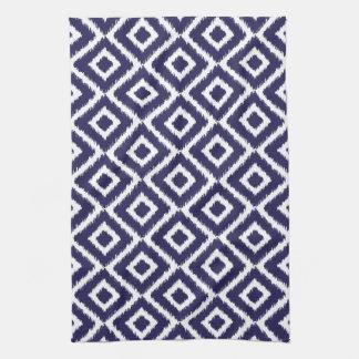 Navy Blue Ikat Diamonds Hand Towel