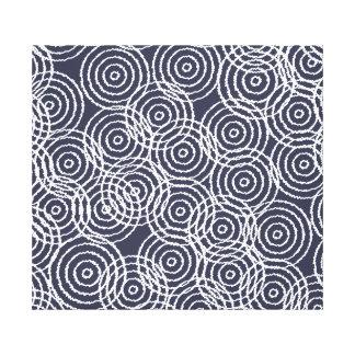 Navy Blue Ikat Overlap Circles Geometric Pattern Canvas Print