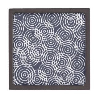 Navy Blue Ikat Overlap Circles Geometric Pattern Premium Keepsake Boxes