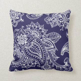 Navy Blue Illustrated Bohemian Paisley Henna Pillows