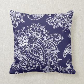 Navy Blue Illustrated Bohemian Paisley Henna Throw Pillow