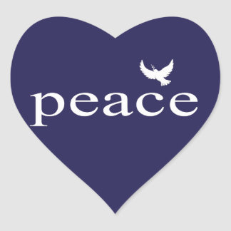 Navy Blue Inspirational Peace Quote Heart Sticker