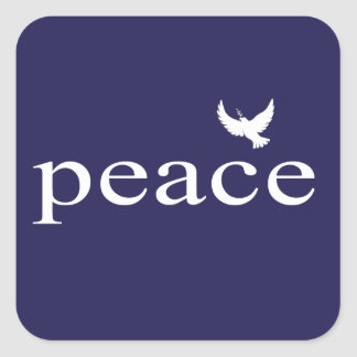 Navy Blue Inspirational Peace Quote Square Sticker