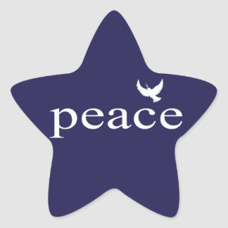Navy Blue Inspirational Peace Quote Star Stickers