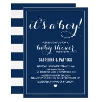 Navy Blue It's a Boy Script Baby Shower Invitation