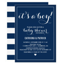 Navy Blue It's a Boy Script Baby Shower Invitation