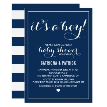 Navy Blue It's A Boy Script Baby Shower Invitation by misstallulah at Zazzle