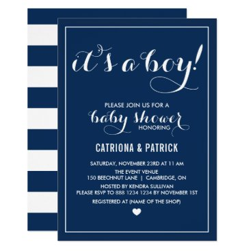 Toddler & Baby themed Navy Blue It's a Boy Script Baby Shower Invitation