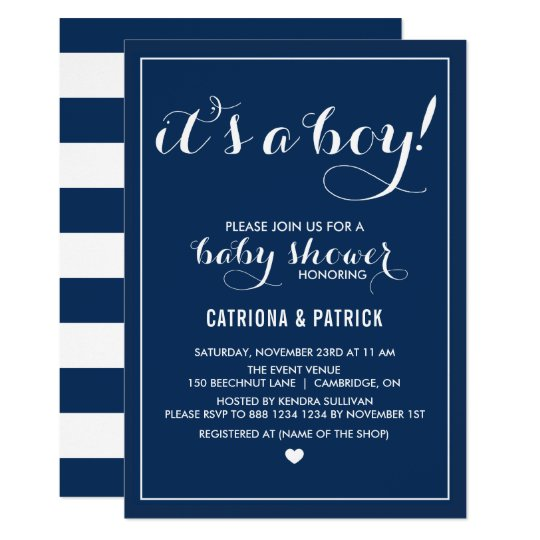 Navy blue its a boy script baby shower invitation zazzle navy blue its a boy script baby shower invitation filmwisefo