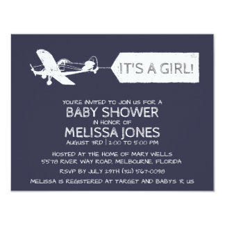 Navy Blue It's A Girl Airplane Banner Baby Card