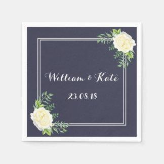 Navy blue Ivory Chic Rose wedding napkins
