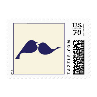 Navy Blue & Ivory Lovebirds Postage