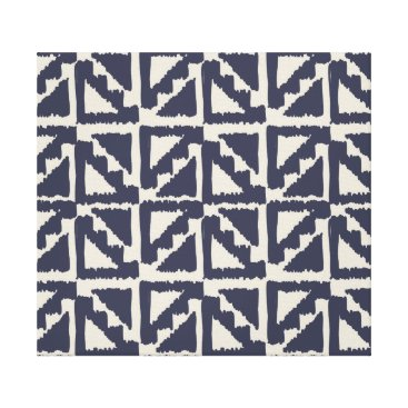 Aztec Themed Navy Blue Ivory Tribal Print Ikat Triangle Pattern
