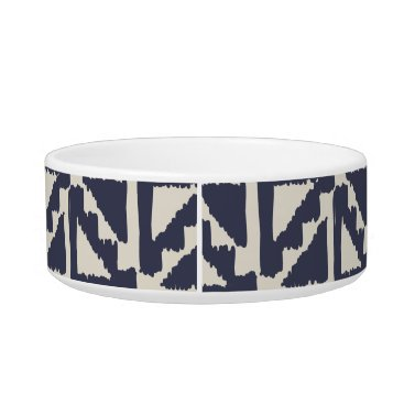 Aztec Themed Navy Blue Ivory Tribal Print Ikat Triangle Pattern Bowl