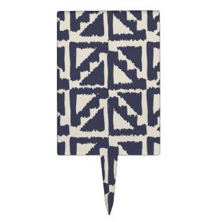 Navy Blue Ivory Tribal Print Ikat Triangle Pattern Cake Topper