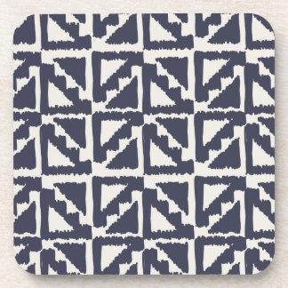Navy Blue Ivory Tribal Print Ikat Triangle Pattern Coaster